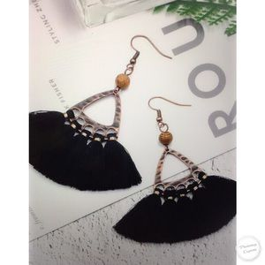 Jewelry - BOHO BLACK TASSEL DANGLES
